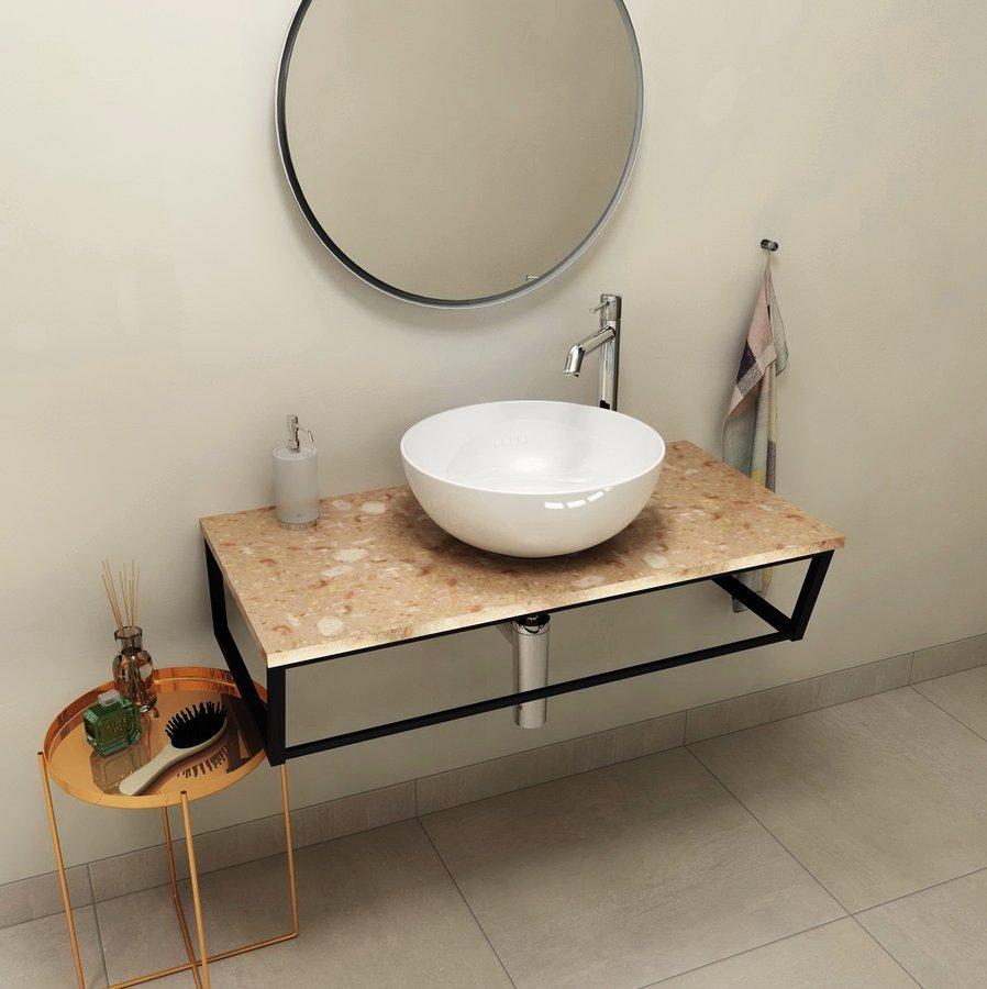 SKA deska 90x2x46 cm, technický mramor, Rosa del Garda