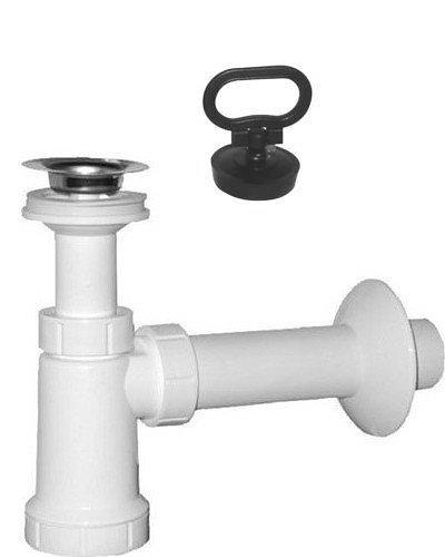 Umyvadlový sifon, nerez výpust, zátka s uchem odpad 40 mm, bílá