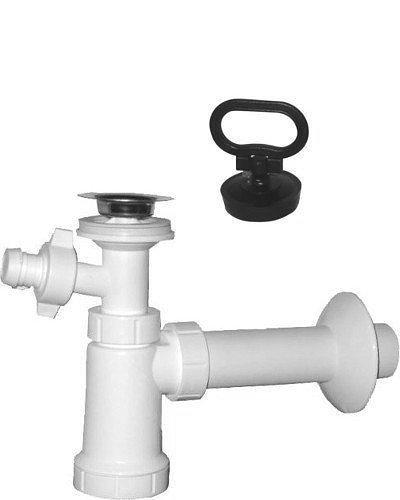 Umyvadlový sifon s odbočkou, nerez výpust, zátka s uchem odpad 40 mm , bílá