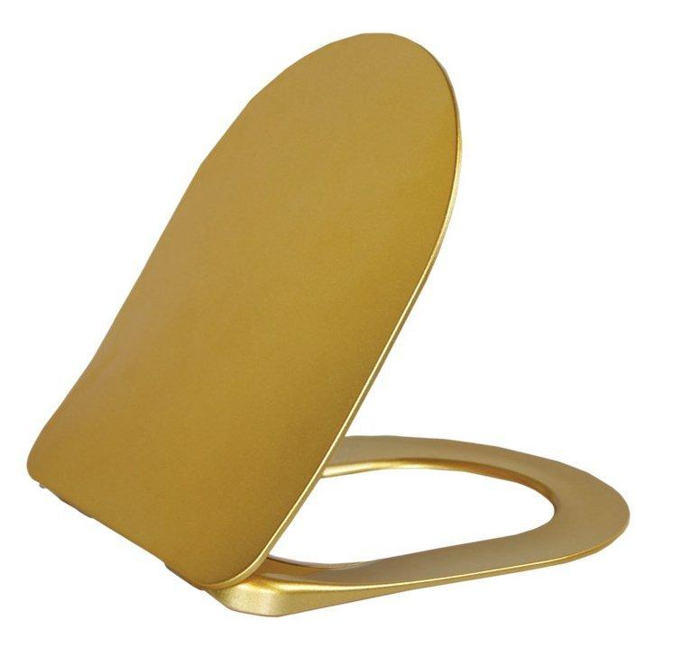 PAULA WC sedátko SLIM Soft Close, duroplast, zlatá