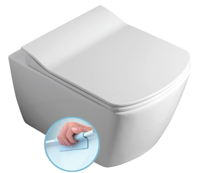 GLANC závěsná WC mísa, Rimless, 37x51,5 cm, bílá