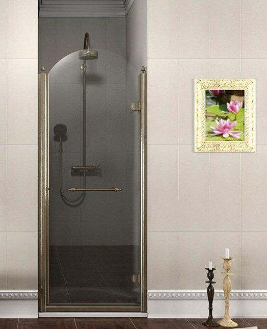 ANTIQUE sprchové dveře otočné, 900mm, pravé, ČIRÉ sklo, bronz