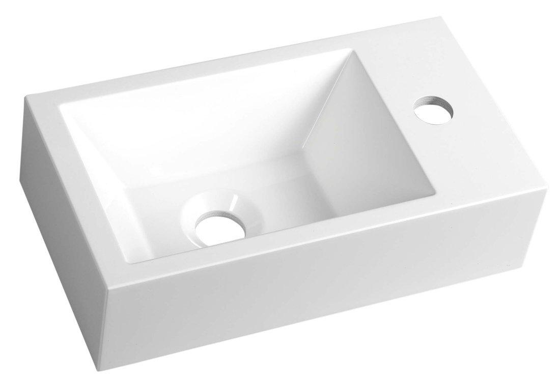 AMAROK umyvadlo 40x11x22cm, litý mramor, bílá, baterie vpravo