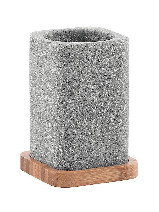 NORA sklenka na postavení, šedá/bambus