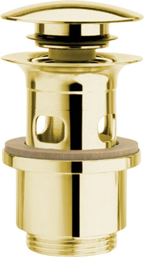 """Umyvadlová výpust 5/4"""", tichý click-clack, velká zátka, tl.40-64mm, zlato"""