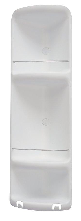 CAESAR třípatrová rohová polička do sprchy 226x710x160 mm, ABS plast, bílá