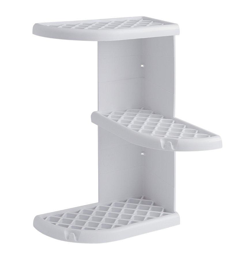 OSCAR rohová polička do sprchy 230x375x230 mm, ABS plast, bílá