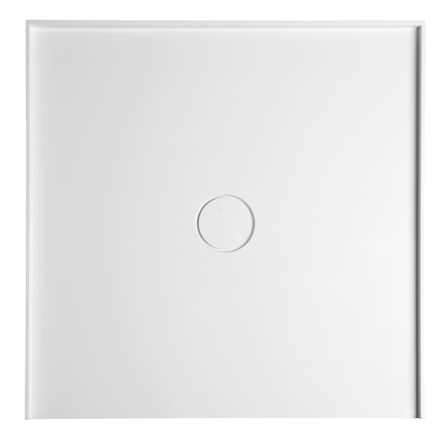 MIRAI sprchová vanička z litého mramoru do niky, 90x90x1,8cm, bílá