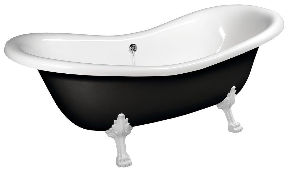 CHARLESTON volně stojící vana 188x80x71cm, nohy bílé, černá/bílá