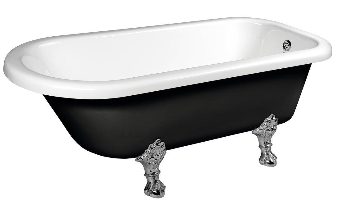 FOXTROT volně stojící vana 170x75x64cm, nohy chrom mat, černá/bílá