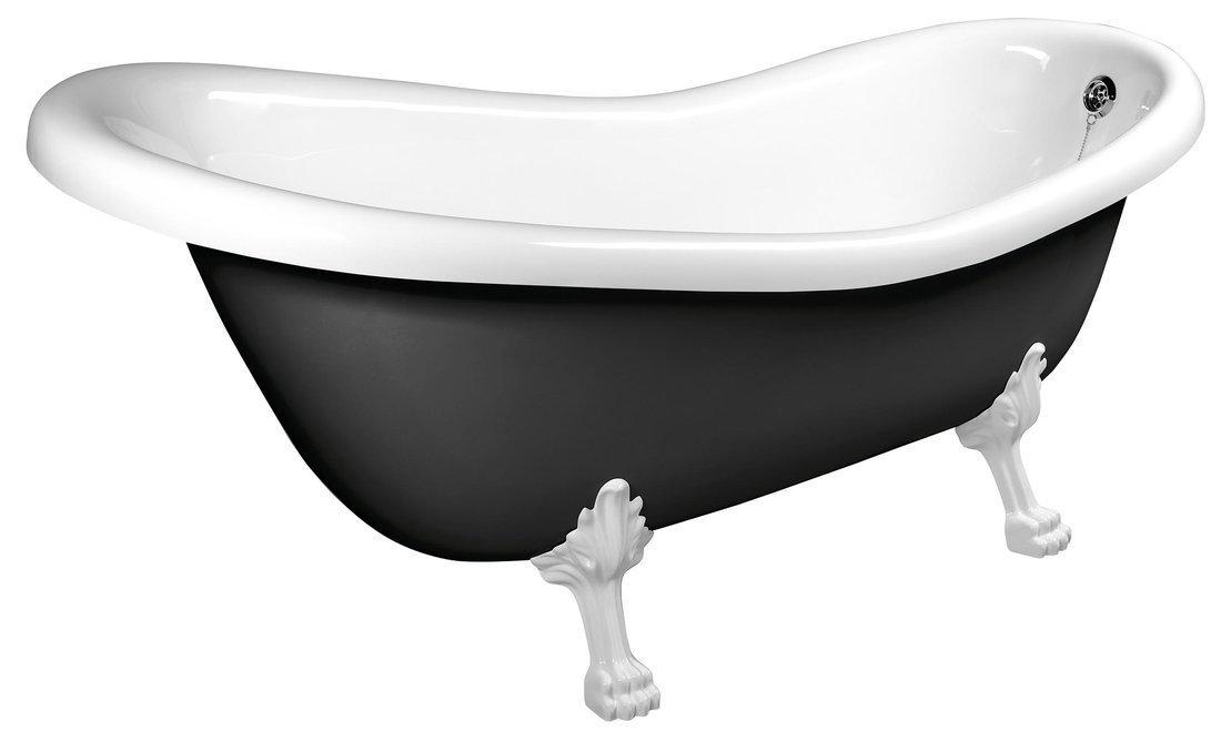 RETRO volně stojící vana 169x75x72cm, nohy bílé, černá/bílá