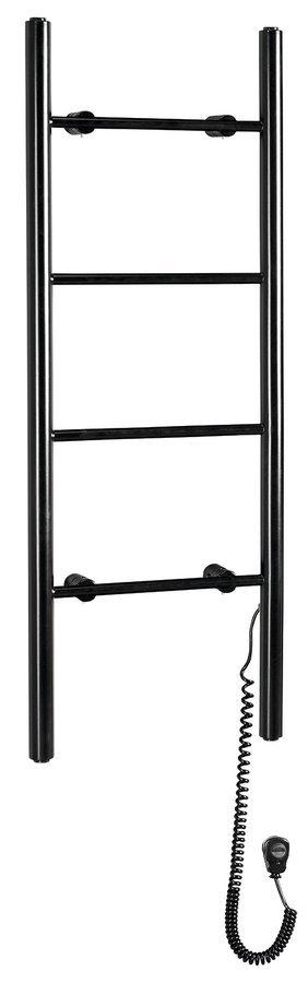 KARBO elektrický sušák ručníků, kulatý, 400x1120 mm, 87 W, černá mat