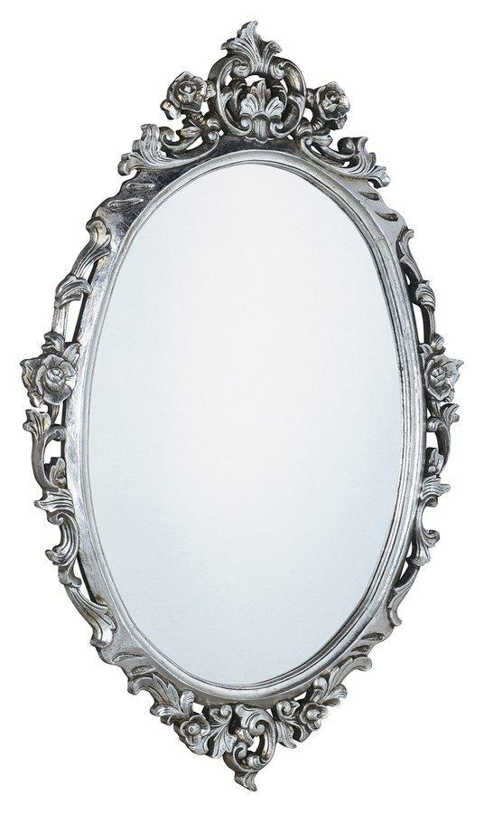 DESNA oválné zrcadlo v rámu, 80x100cm, stříbrná