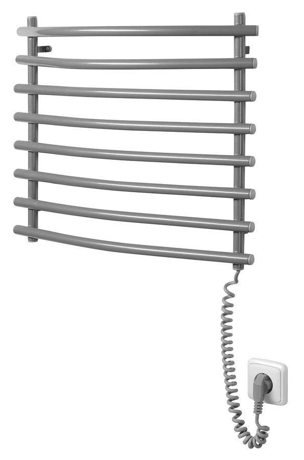 Elektrický sušák ručníků, 570x465 mm, 72 W, šedý hliník - metalíza (RAL9007)