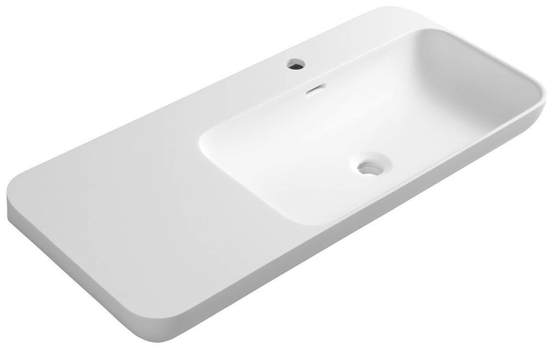 NIAGARA umyvadlo s odkládací plochou vlevo, 90x14x40cm, bílá mat