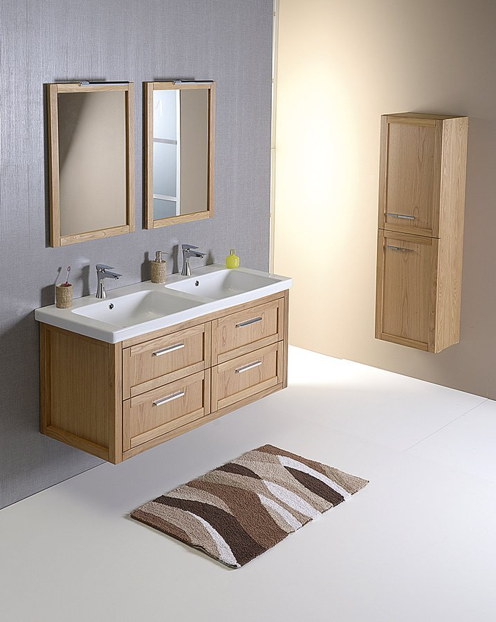 Koupelnový set LARITA 125, dvojumyvadlo, dub natural