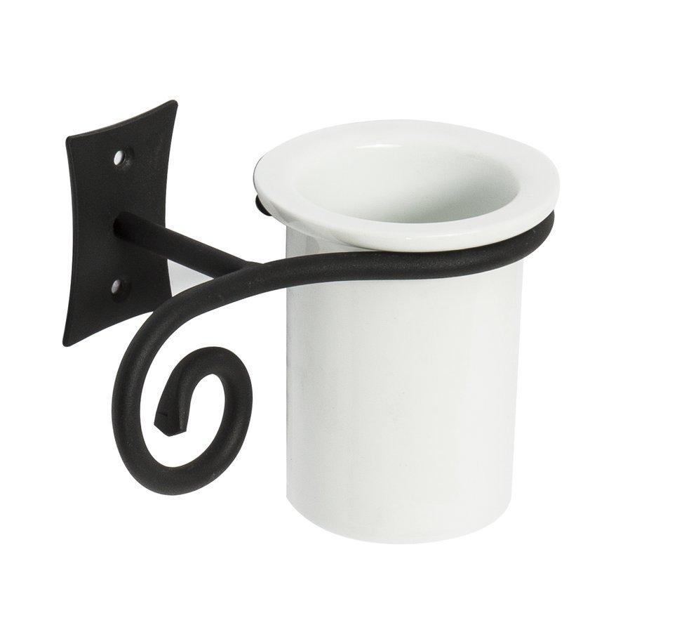 REBECCA sklenka, černá/keramika