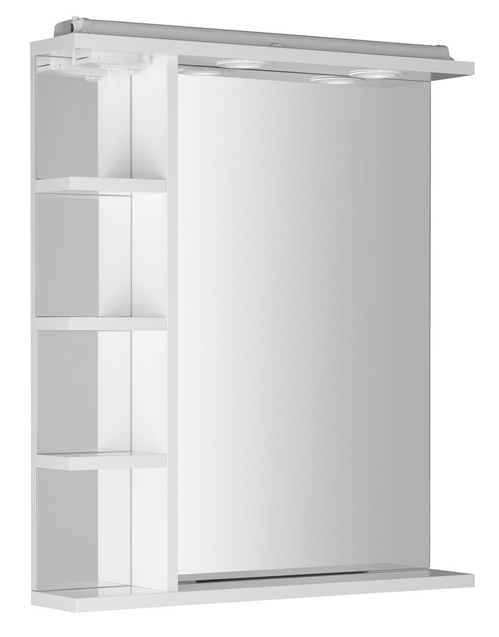 KORIN zrcadlo s LED osvětlením, zásuvkou a poličkami 60x70x12cm