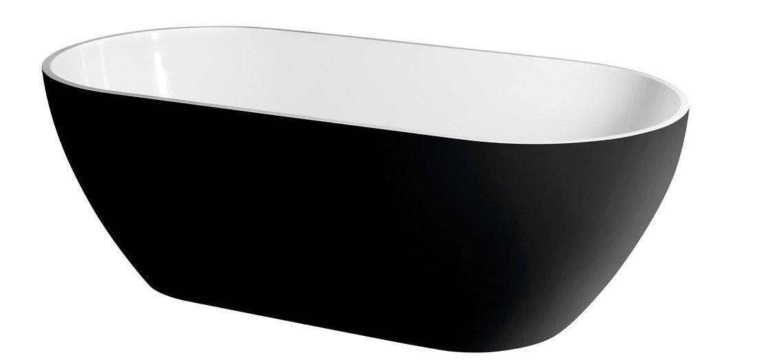 REDUTA volně stojící vana litý mramor 150x75x46cm, černá/bílá