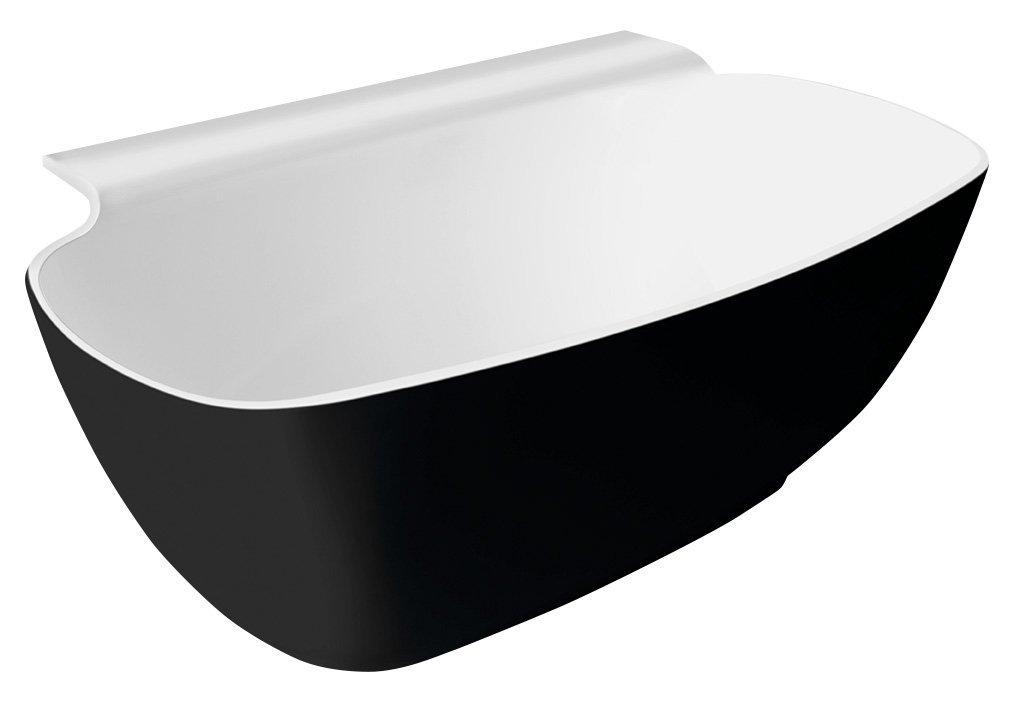 NIGRA volně stojící vana litý mramor 158x80x45cm, černá/bílá