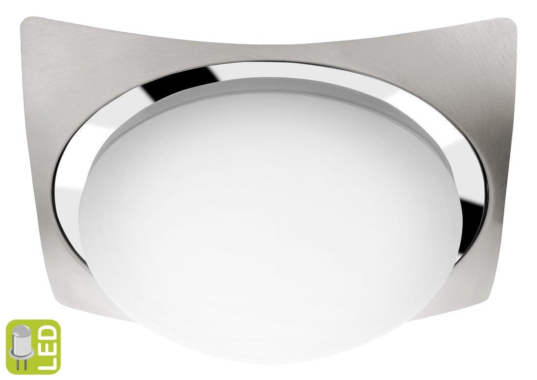 METUJE stropní LED svítidlo 26x26cm, 12W, 230V, chrom/broušený nerez