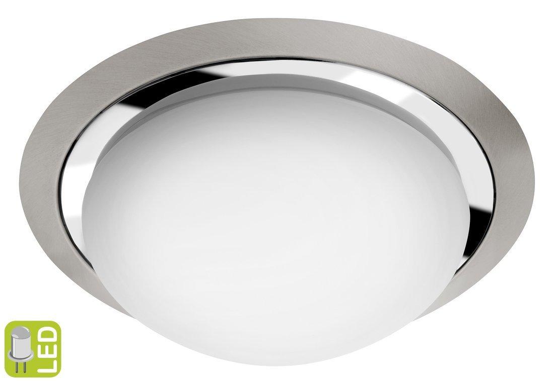 METUJE stropní LED svítidlo pr.28,5cm, 12W, 230V, chrom/broušený nerez