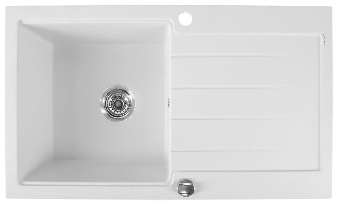 Dřez granitový vestavný s odkapávací plochou, 86x50 cm, bílá