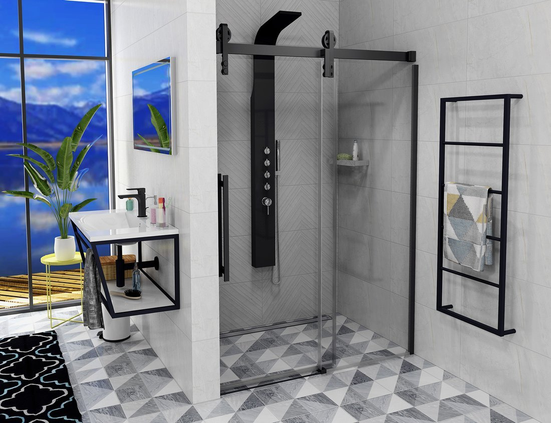 VOLCANO BLACK sprchové dveře 1500 mm, čiré sklo