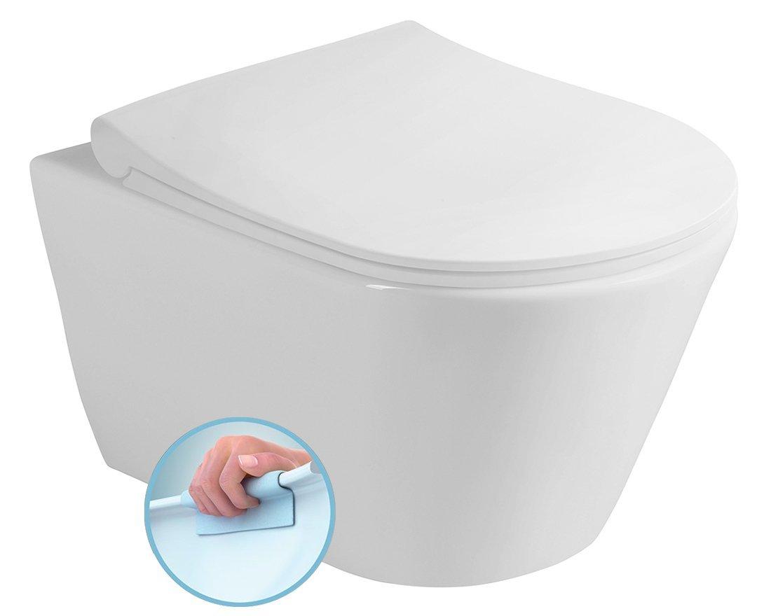 AVVA závěsná WC mísa Rimless, 35,5x53 cm, bílá