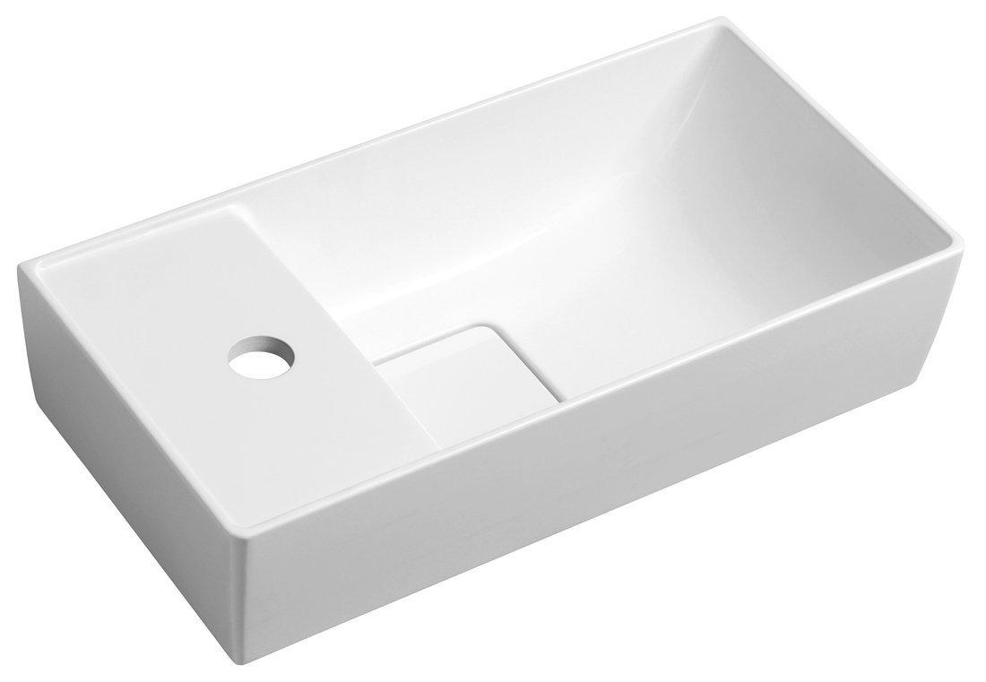 MAXX umývátko se záklopem 47,5x11x24cm, litý mramor, levé, bílá