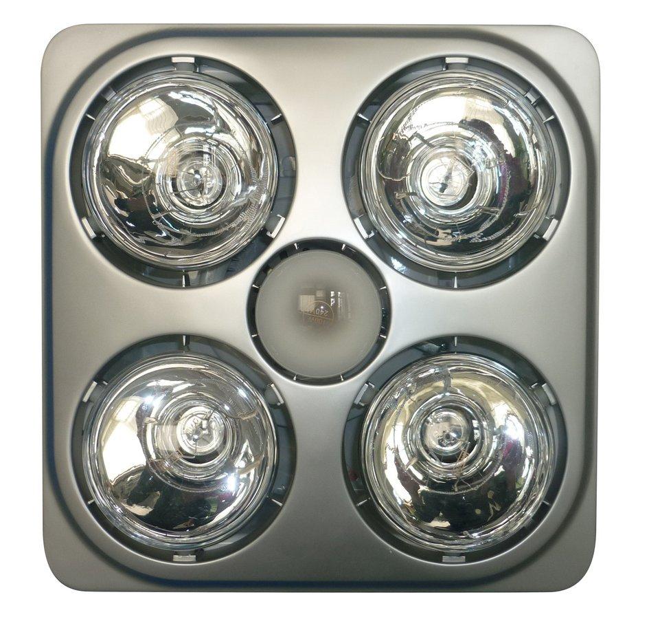 Stropní koupelnový infrazářič s osvětlením a ventilátorem, 1240 W, stříbrná