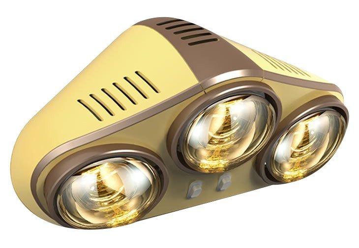 Nástěnný koupelnový infrazářič, 735 W, zlatá
