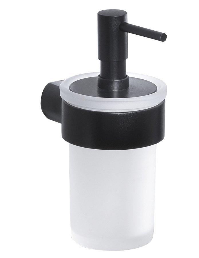 PIRENEI dávkovač mýdla, černá mat/mléčné sklo
