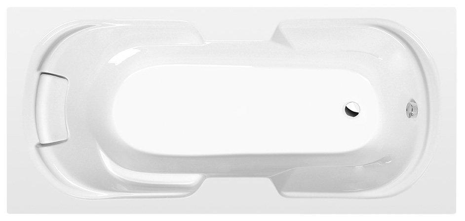 KAILA obdélníková vana s integrovaným podhlavníkem 190x88x43cm, bílá