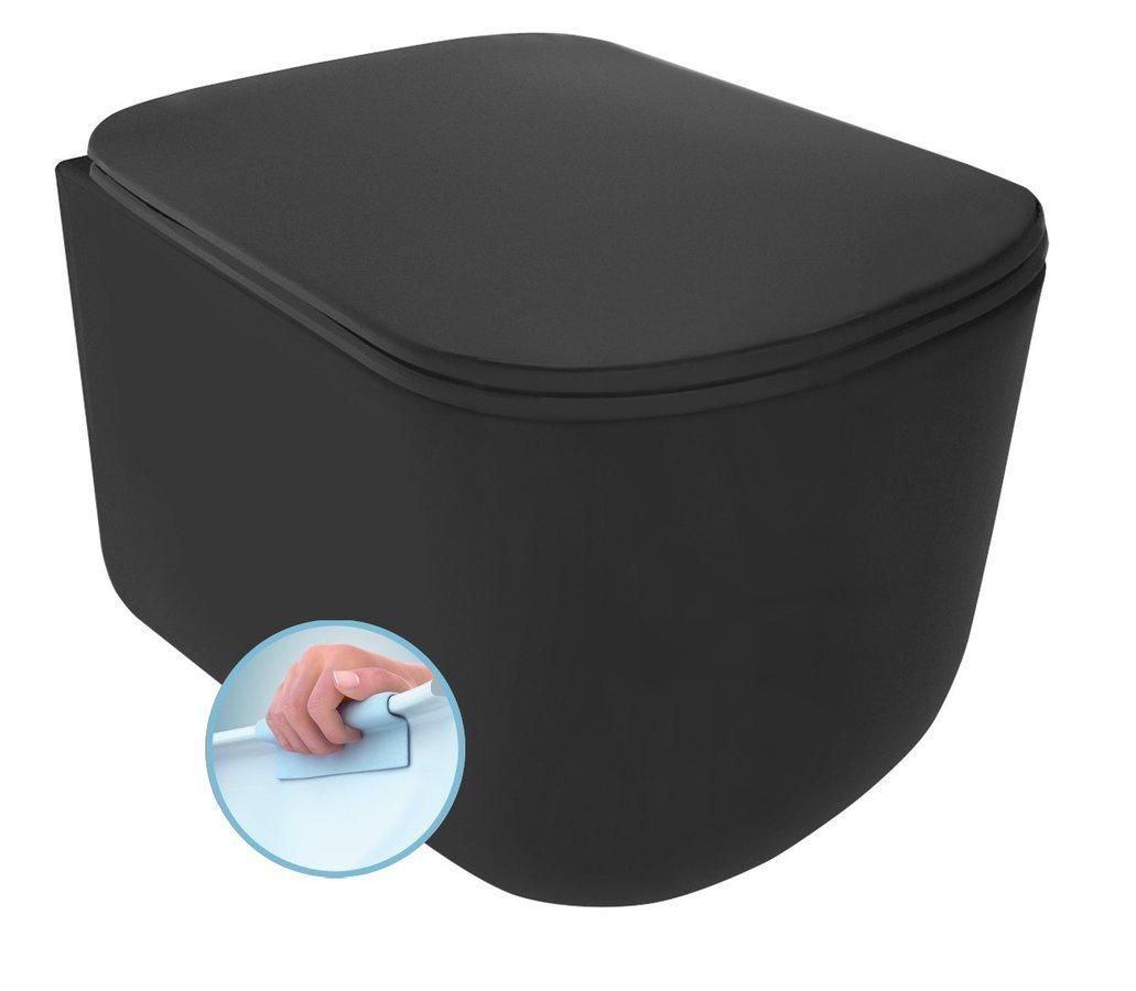 TRIBECA závěsná WC mísa, Rimless, 35x54 cm, černá mat