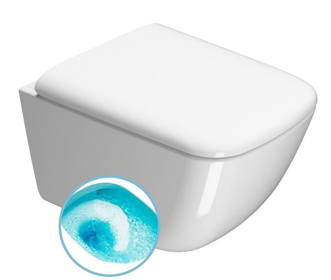 SAND závěsná WC mísa, Swirlflush, 50x36 cm, bílá ExtraGlaze