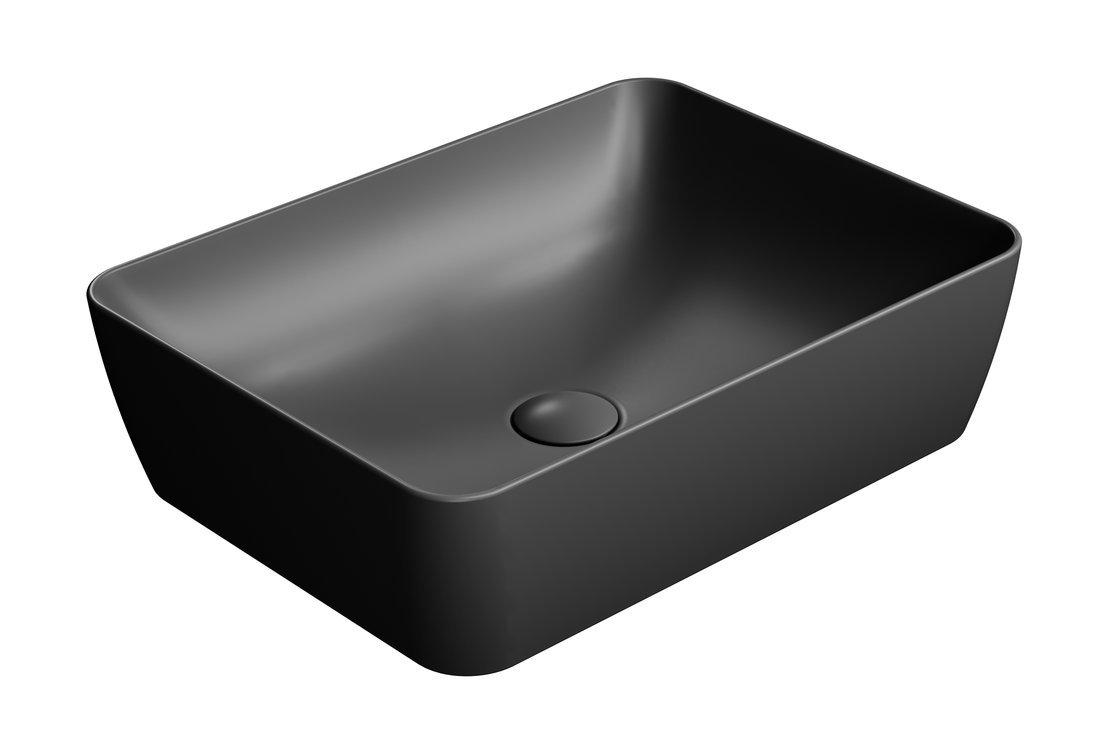 SAND umyvadlo na desku 50x38 cm, černá mat