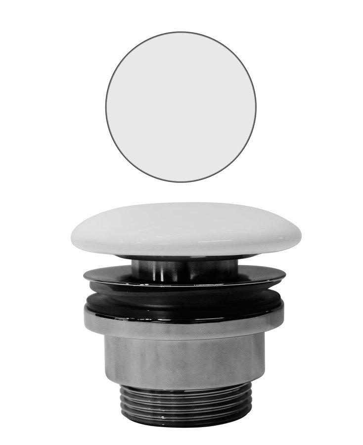 """GSI umyvadlová výpust 5/4"""", neuzavíratelná, tl.5-65 mm, keramická krytka, bílá mat"""