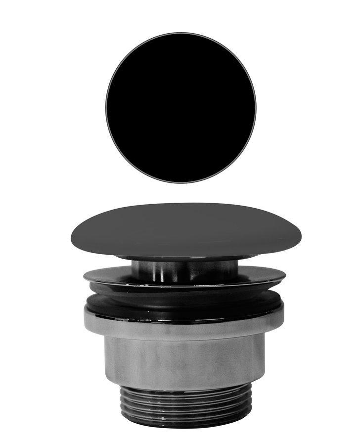 """GSI umyvadlová výpust 5/4"""", neuzavíratelná, tl.5-65 mm, keramická krytka, černá mat"""