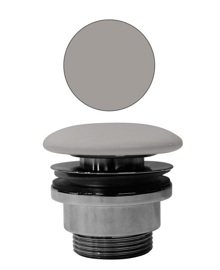 """GSI umyvadlová výpust 5/4"""", neuzavíratelná, tl.5-65 mm, keramická krytka, tortora mat"""