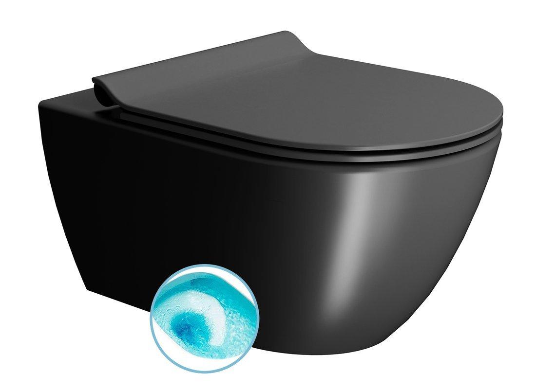 PURA závěsná WC mísa, Swirlflush, 55x36 cm, černá dual-mat
