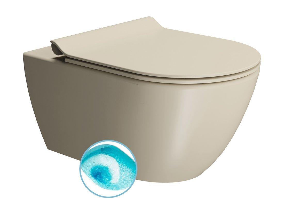 PURA závěsná WC mísa, Swirlflush, 55x36 cm, creta dual-mat