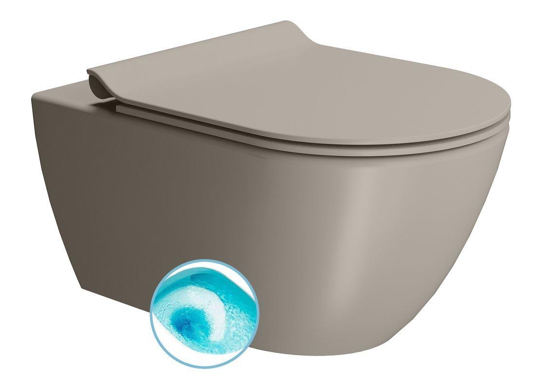 PURA závěsná WC mísa, Swirlflush, 55x36 cm, tortora dual-mat