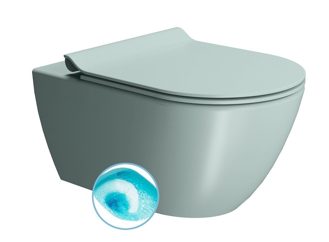 PURA závěsná WC mísa, Swirlflush, 55x36 cm, ghiaccio dual-mat
