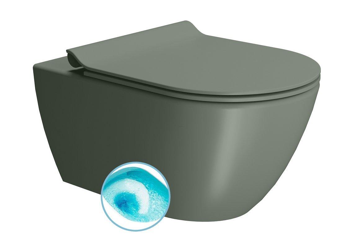 PURA závěsná WC mísa, Swirlflush, 55x36 cm, agave dual-mat