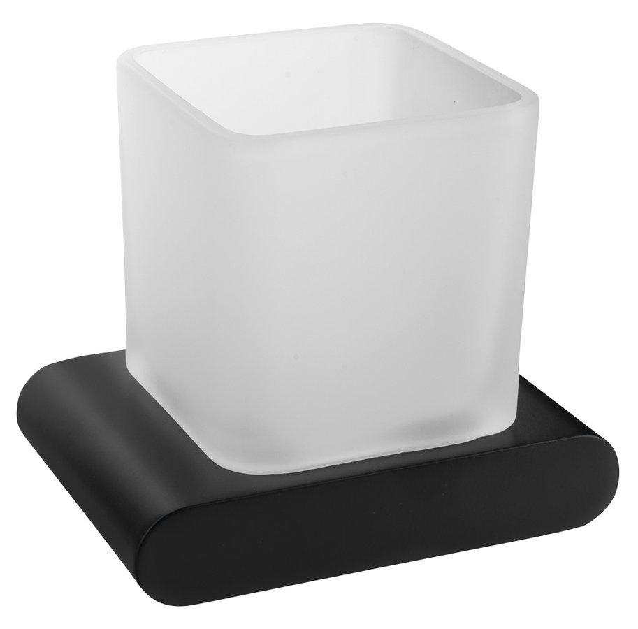 FLORI sklenka, černá mat/mléčné sklo