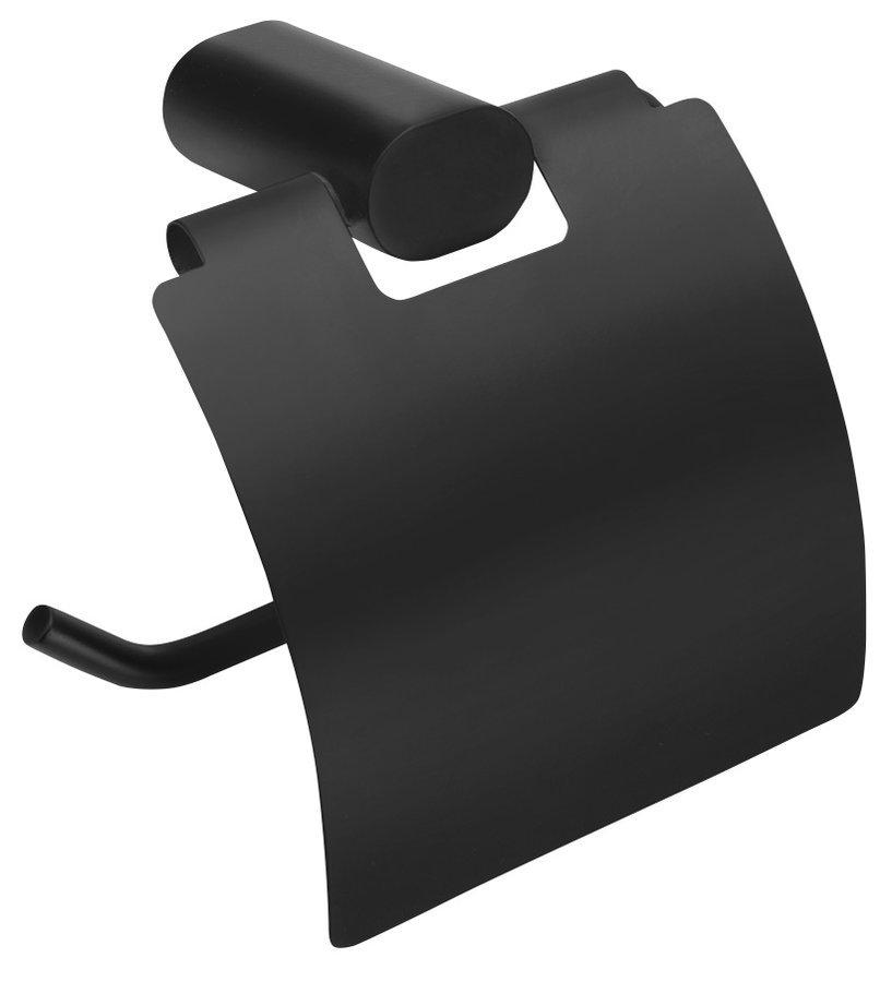 FLORI držák toaletního papíru s krytem, černá mat