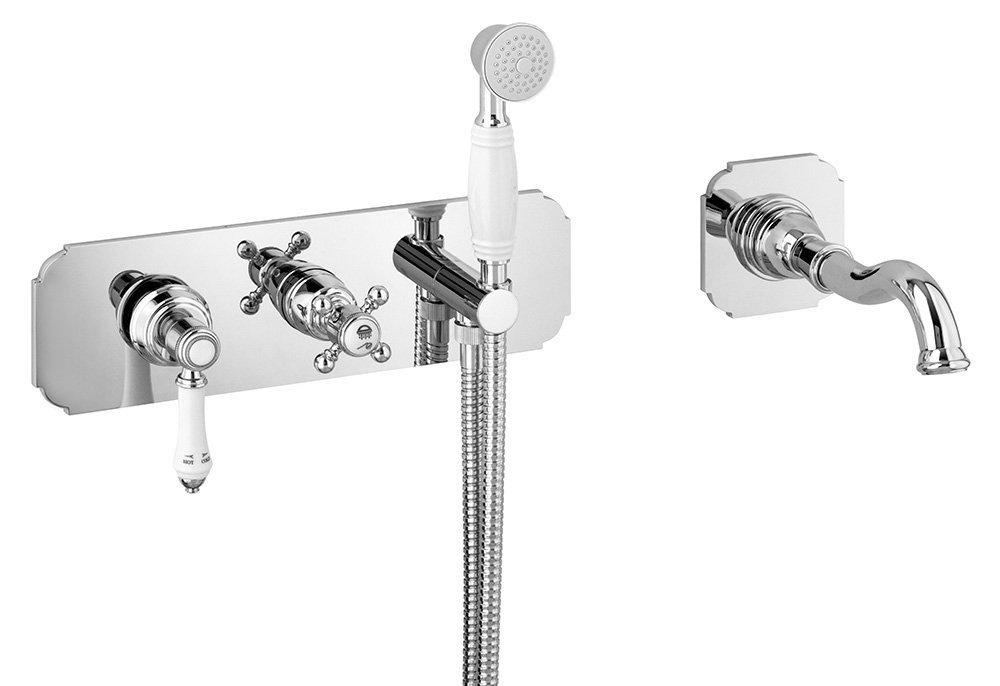 VIENNA podomítková vanová baterie s hubicí a ruční sprchou, 2 výstupy, chrom