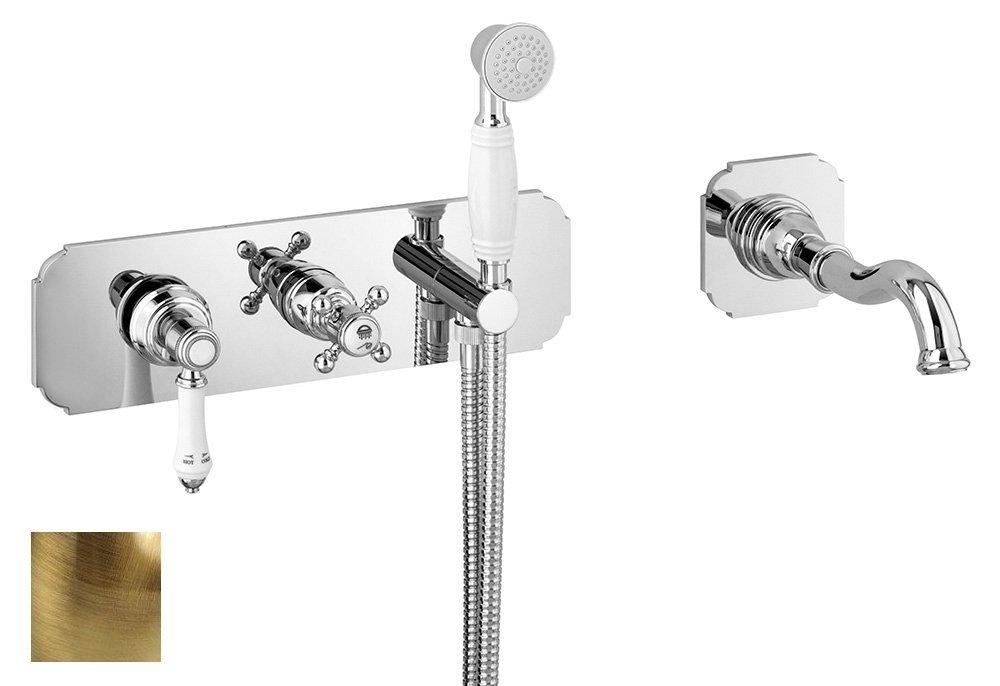 VIENNA podomítková vanová baterie s hubicí a ruční sprchou, 2 výstupy, bronz