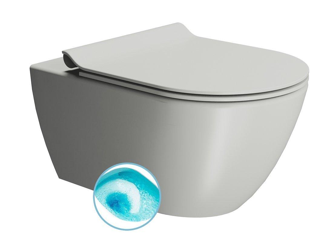 PURA závěsná WC mísa, Swirlflush, 55x36 cm, cenere dual-mat